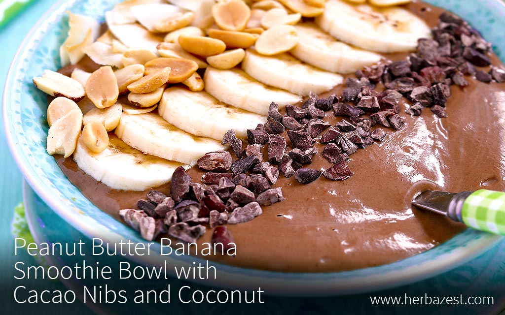 Peanut Butter Banana Smoothie Bowl with Cacao Nibs and Coconut