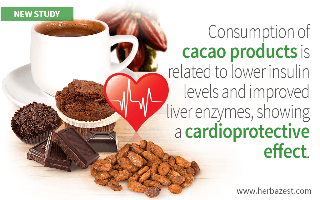 Consumption of cacao products is related to lower insulin levels and improved liver enzymes, showing a cardioprotective effect.