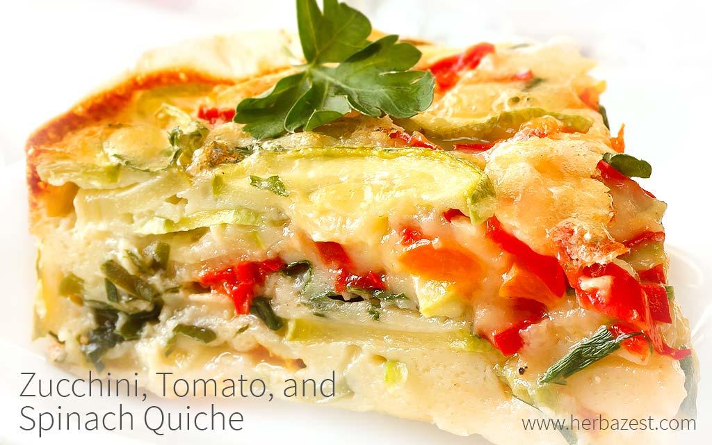 Zucchini, Tomato, and Spinach Quiche