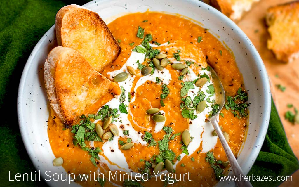 Lentil Soup with Minted Yogurt