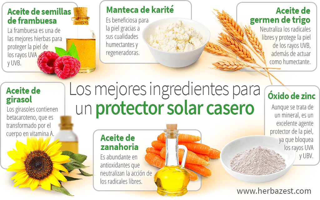 Los mejores ingredientes para un protector solar casero
