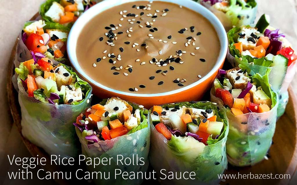 Veggie Rice Paper Rolls with Camu Camu Peanut Dressing