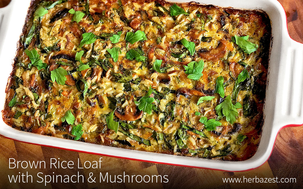 Brown Rice Loaf with Spinach & Mushrooms